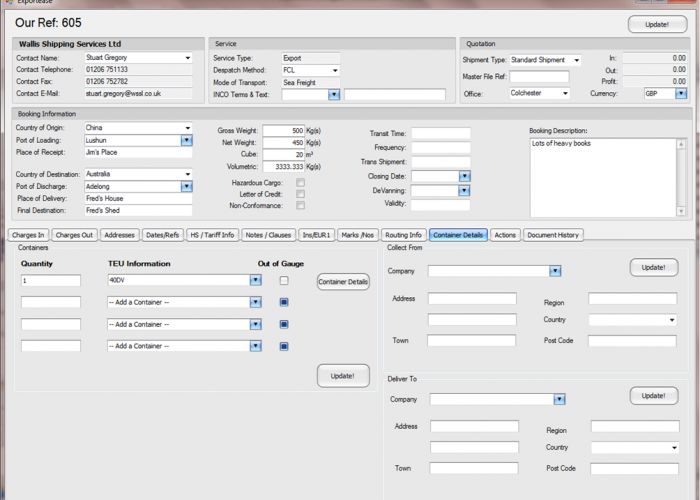 Exportease - container details